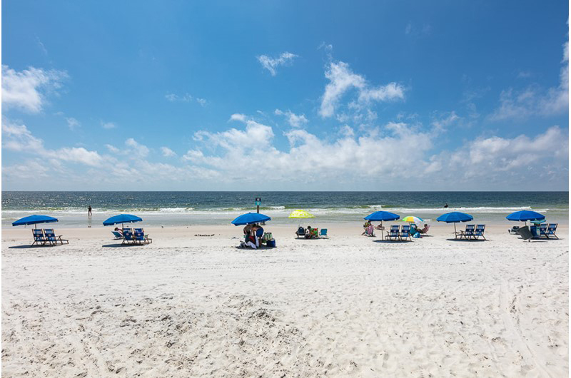 Relax on the beach all day in front of SeaCrest in Gulf Shores AL