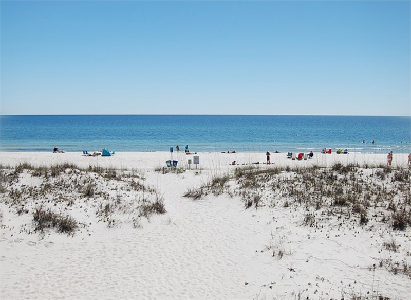 Walk straight out to the beach from Spyglass in Gulf Shores Alabama