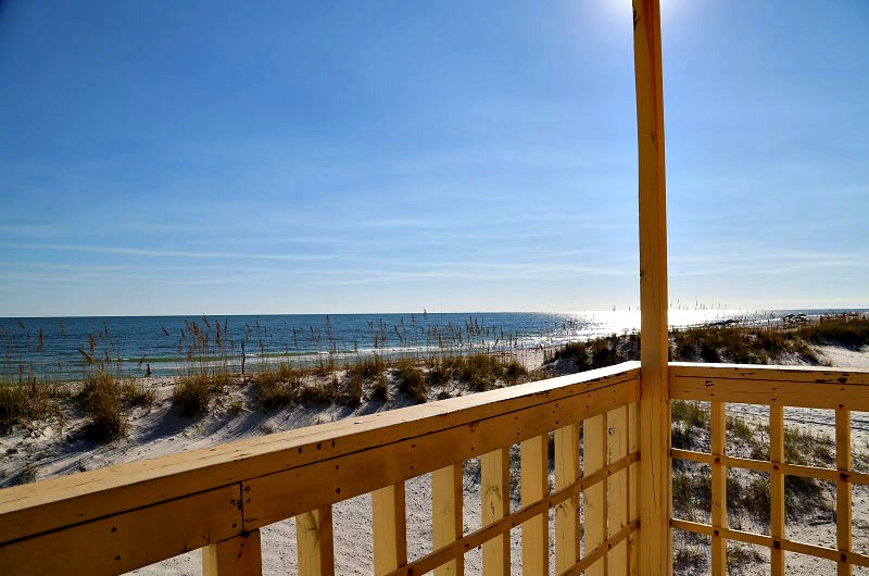 Beachfront balcony view at Sunrise Village in Gulf Shores AL
