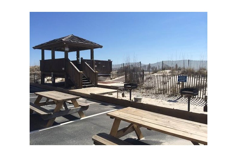 Grill area at The Beach Front Condos in Gulf Shores Alabama