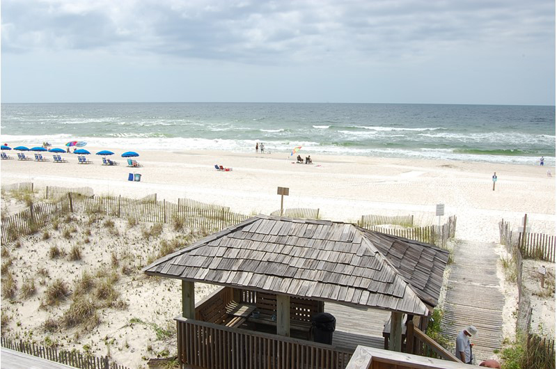Easy walk to the beach in from of The Beach Front Condos in Gulf Shores Alabama