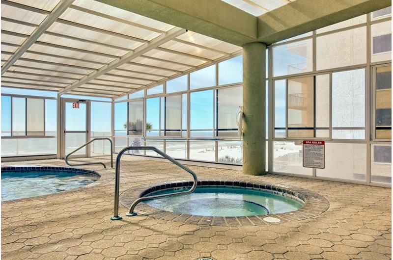 Indoor hot tubs at The Colonnades in Gulf Shores Alabama