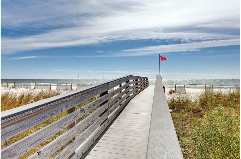 Easy walk to the beach from The Colonnades in Gulf Shores Alabama