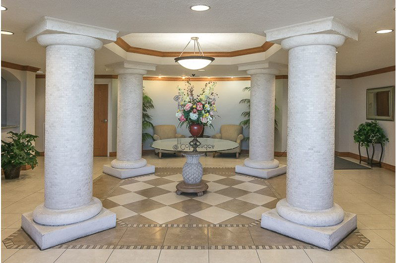 Lovely lobby area at The Colonnades in Gulf Shores Alabama