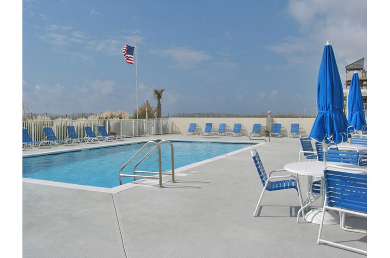 Pool deck at Gulf Tower Condos in Gulf Shores Alabama