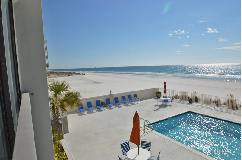 View of pool from Gulf Tower Condos patio in Gulf Shores Alabama