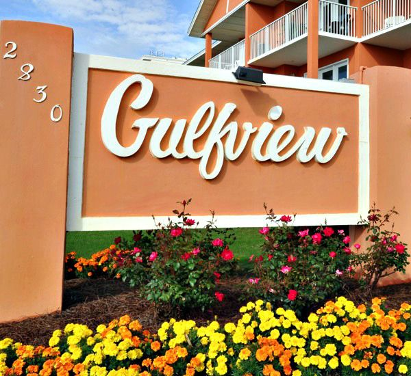 Gulfview I & II Condominiums marquee in Destin Florida.