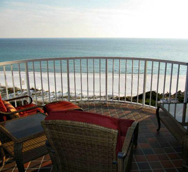 Large balcony overlooking the beach at Hidden Dunes  in Destin Florida