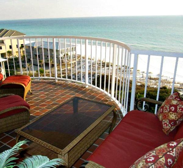 Balcony overlooking the beach at Hidden Dunes  in Destin Florida