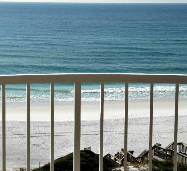 View of the beach from the balcony at Hidden Dunes  in Destin Florida