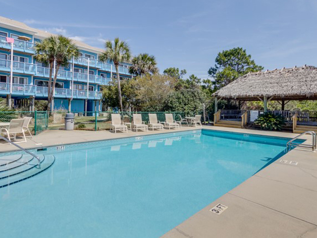 Large pool deck and pool at Beachfront II in Seagrove Beach Florida
