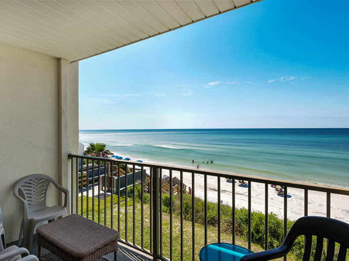 Relax and enjoy a view of the beach and Gulf from Beachside Condominiums in Seagrove Beach Florida