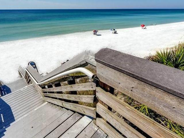 The beach is steps from Beachwood Villas in Seagrove Beach FL