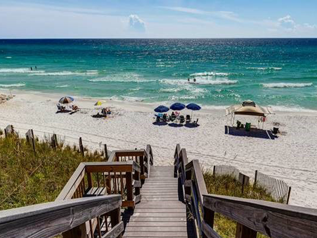 The beach is just steps from Dune Villas Santa Rosa Beach FL