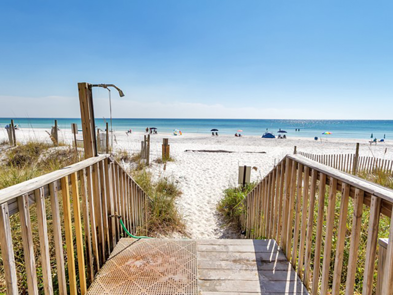 Take the easy crosswalk to the surf and sand from Eastern Shores Condominiums in Highway 30-A Florida