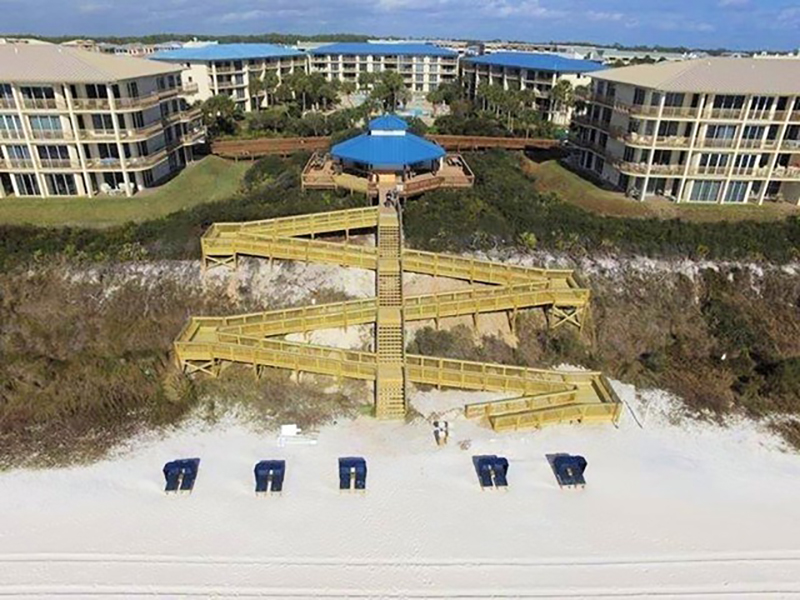 Birdseye view of beach and crosswalk at High Pointe Resort in Highway 30-A Florida