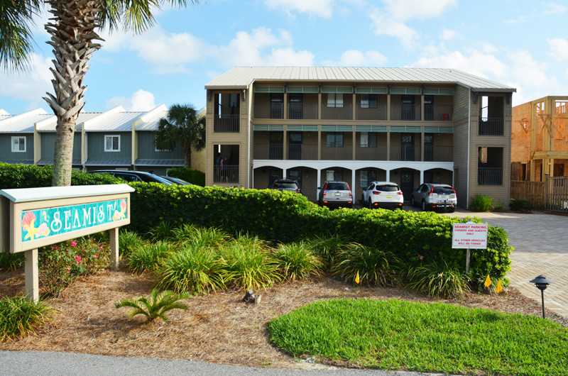 Front view of Seamist Condominiums in Seacrest Beach FL. A three story hwy 30a vacation rental property located gulf front.