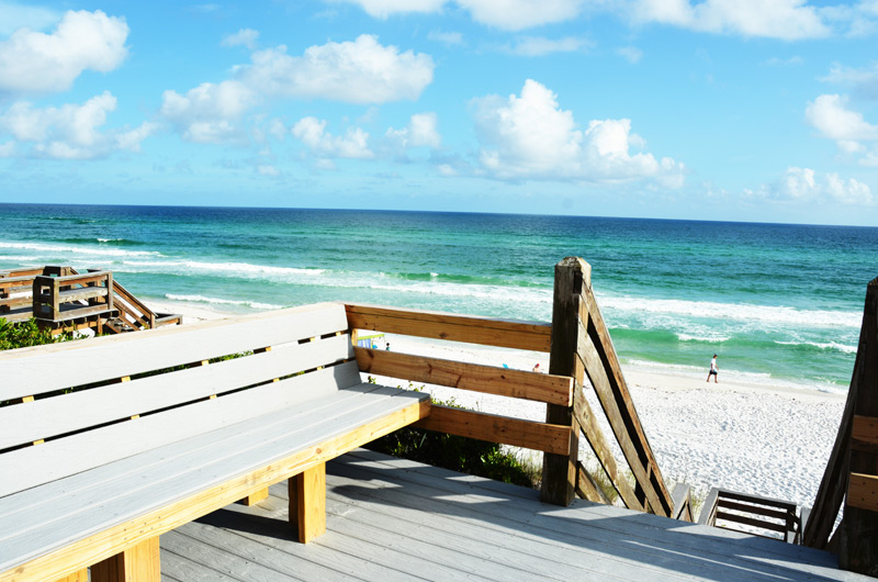Beautiful gulf front view of the emerald green waters of Seacrest Beach from the newly remodeled boardwalk at Seamist Condominiums.