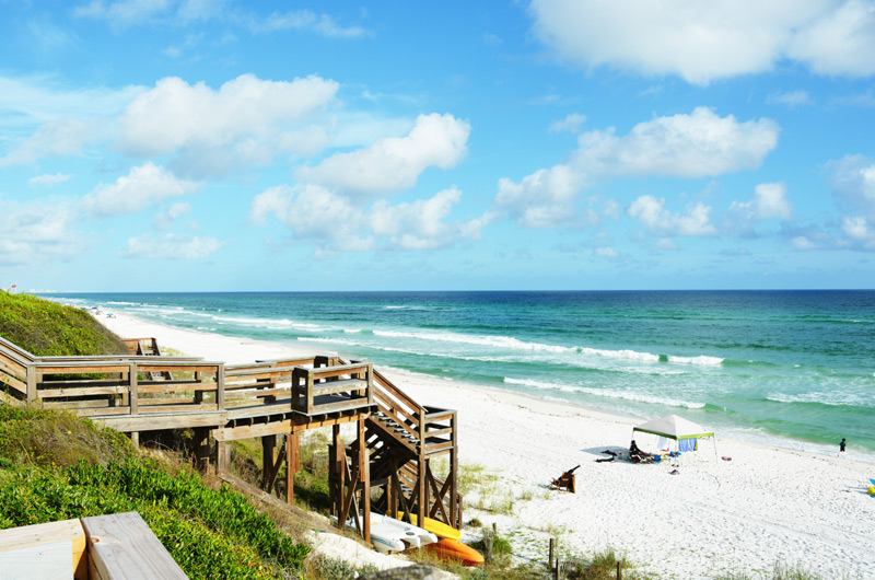 Beautiful view from the newly remodeled boardwalk at Seamist Condominiums of beautiful white sand on Seacrest Beach Florida.