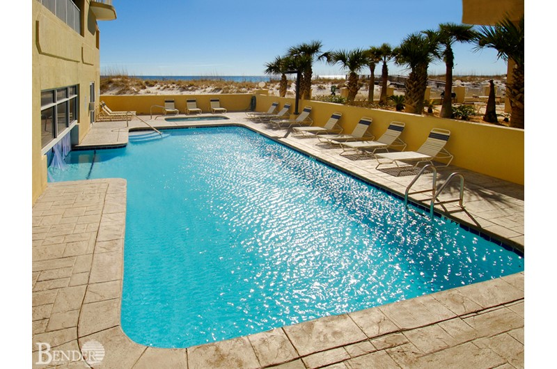 Shimmering outdoor pool at Island Royale in Gulf Shores AL