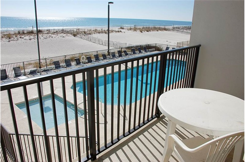 Pool view from balcony at Island Winds West in Gulf Shores AL