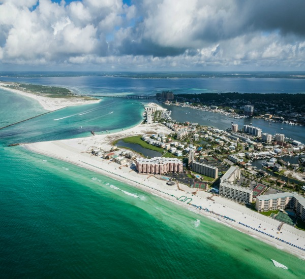 Birds-eye view of Jetty East in Destin Florida