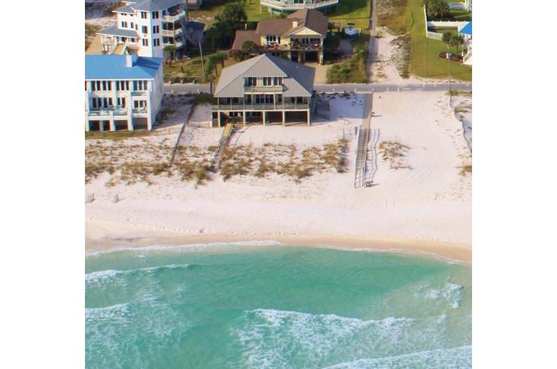 Aerial of Arioal 1214 beachfront luxury home in Pensacola Florida.