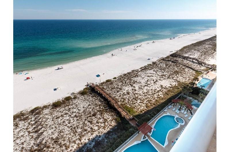 View the pool and beach from The Pearl of Navarre Beach Florida