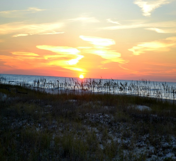 Sunset view at Needle Rush Point in Perdido Key