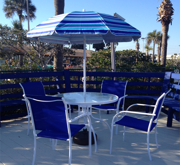 Tables and chairs at the pool at Ocean Breeze Hotel in Panama City Beach Florida