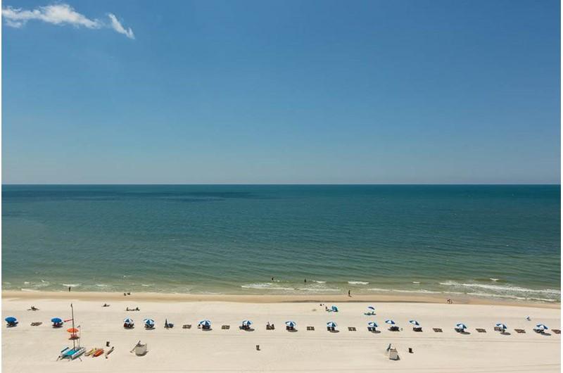 Panoramic view of the beach and Gulf at Admirals Quarters Orange Beach
