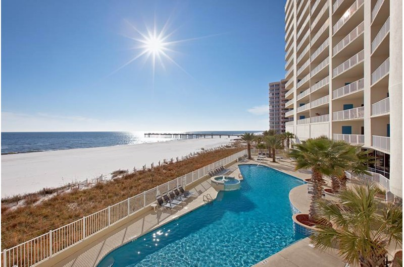 Gulf-front swimming pool at Admirals Quarters Orange Beach