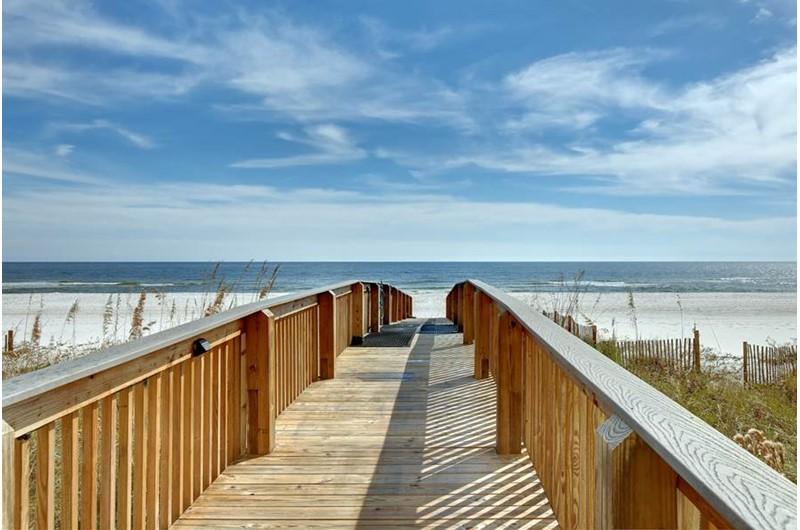 Beach boardwalk at Admirals Quarters Orange Beach
