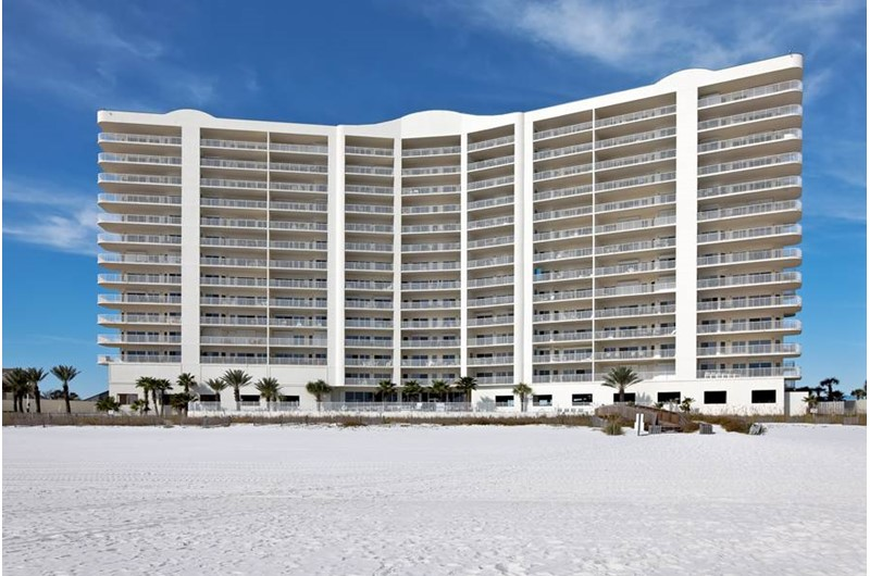 Exterior view from the beach at Admirals Quarters Orange Beach