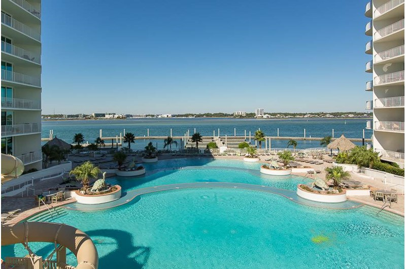 pool overlooks the water at Caribe Resort in Orange Beach Alabama