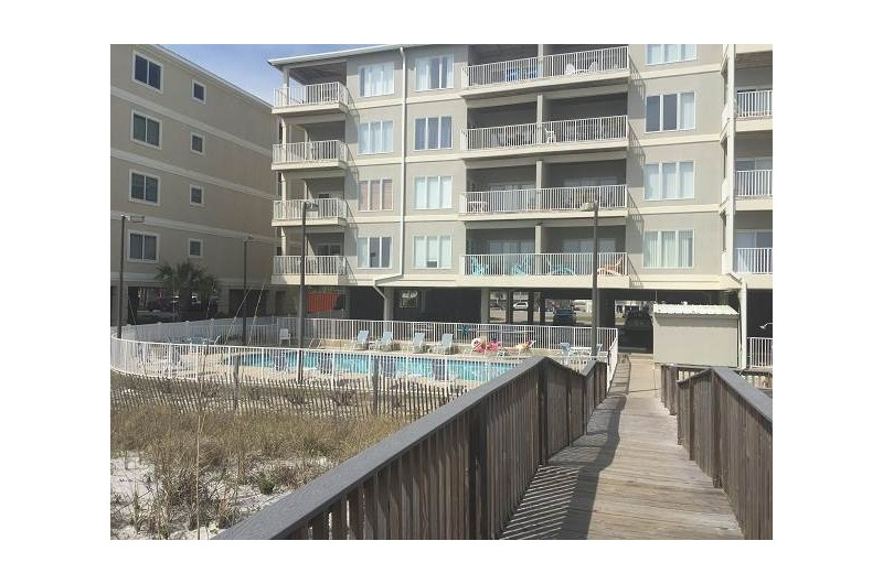 Pool and beach are steps from Dolphin Key  Orange Beach Alabama