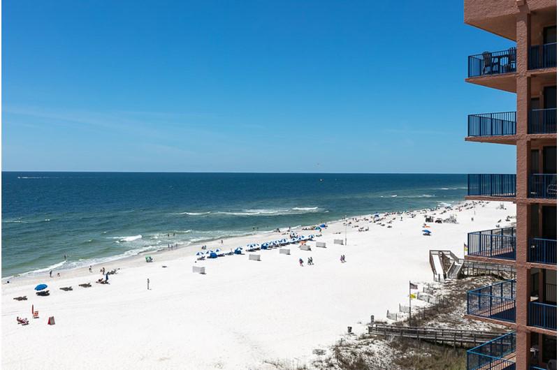 Balcony view of the beach from Four Seasons in Orange Beach Alabama