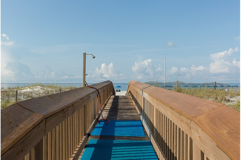 Easy access to the Gulf in front of Harbour Place in Orange Beach Alabama