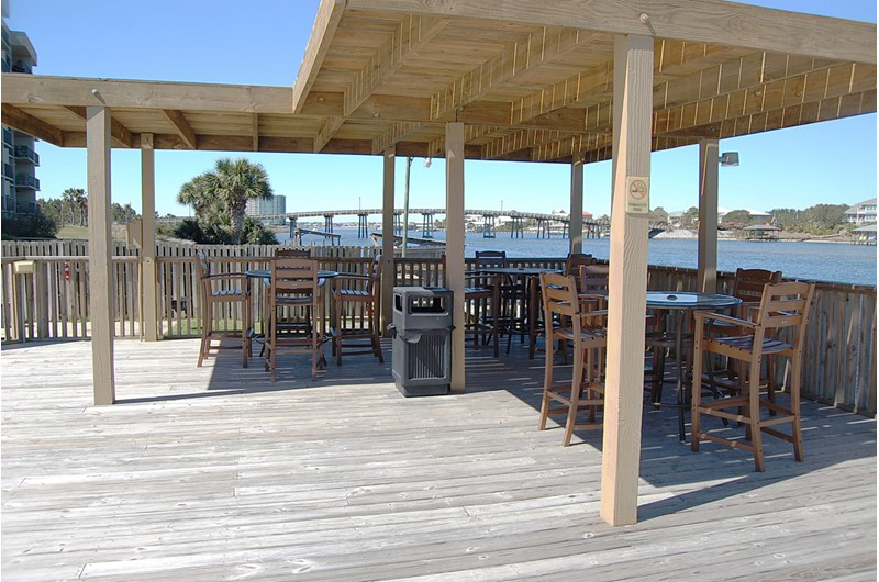 A great place to relax with a view of the water and the pool at Lei Lani in Orange Beach AL