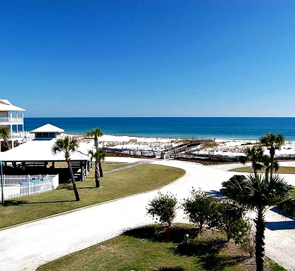 Panoramic view of the beach from Hayley House one of the Orange Beach Vacation Homes