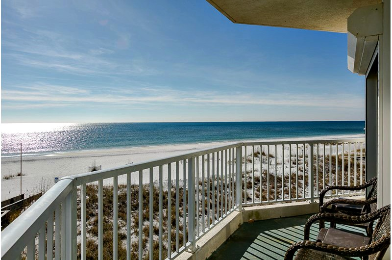 Balcony view of beach at Palm Beach Condos in Orange Beach AL