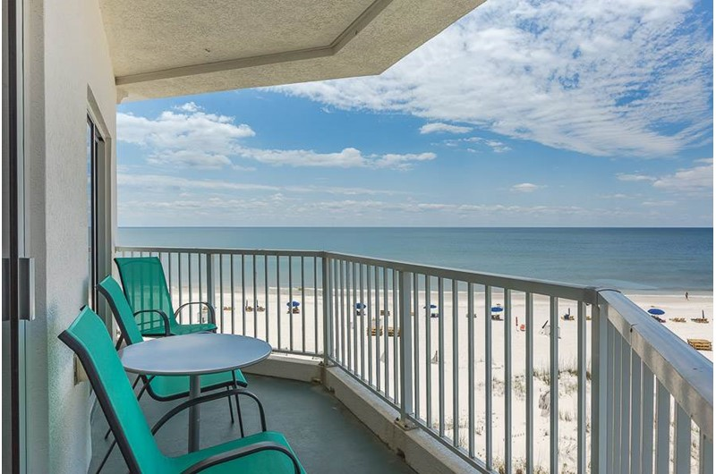 Lovely balcony view of beach at Palm Beach Condos in Orange Beach AL