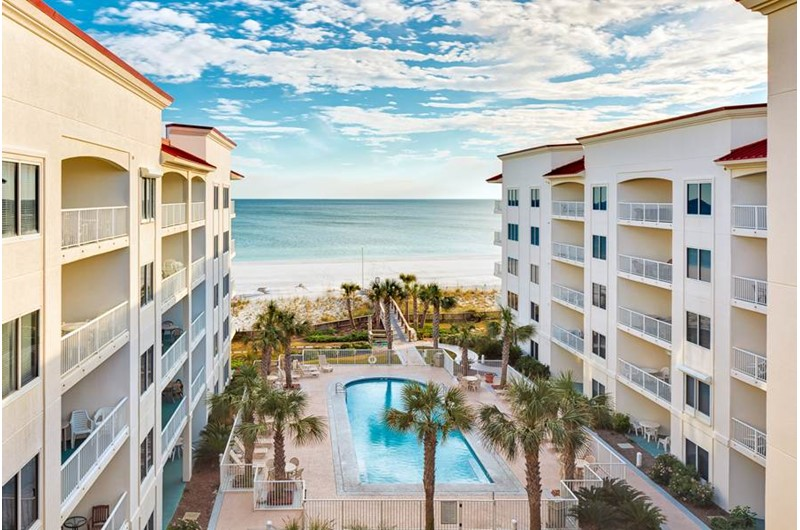 Great view of the pool and beach at Palm Beach Condos in Orange Beach AL