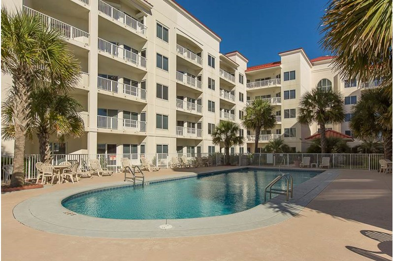 Great pool area at Balcony view of beach at Palm Beach Condos in Orange Beach AL