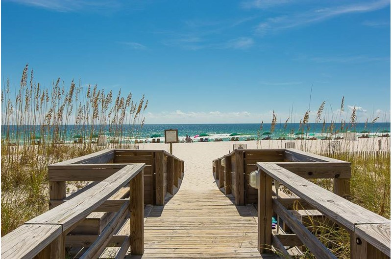 Easy access to the beach on the boardwalk at Palm Beach Condos in Orange Beach AL