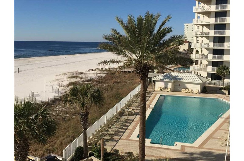 Pool right on the beach at Pelican Pointe in Orange Beach Alabama