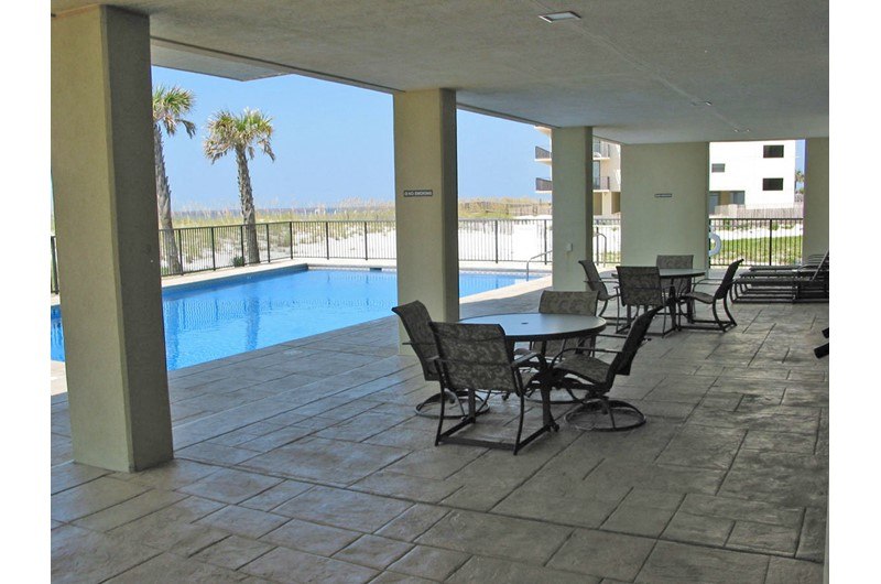 Nice covered patio next to the pool at Perdido Quay in Orange Beach Alabama