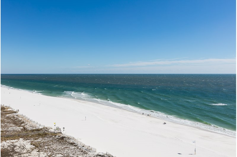 Long view of beach from Phoenix I in Orange Beach Alabama