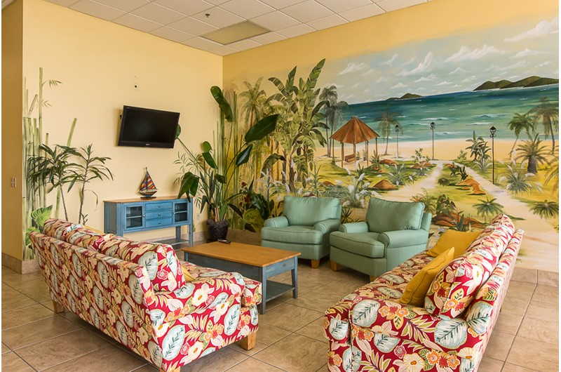 Cute lobby at Phoenix I in Orange Beach Alabama