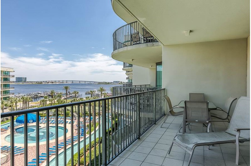 You will have an amazing view of the pool area and water at Phoenix on the Bay in Orange Beach AL